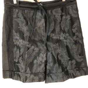 Dries Van Noten Brocade Black  Tie Waist Shorts